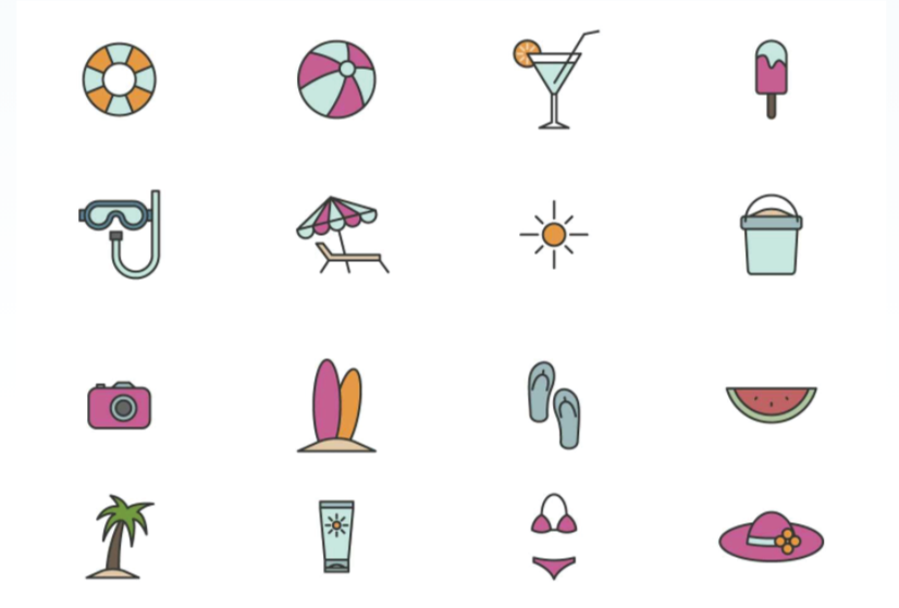 Free Outline Beach Icons Set