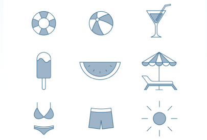 Free Monocolor Beach Icons