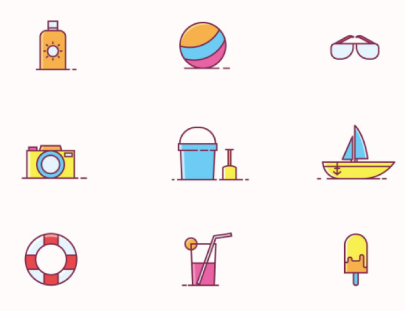 Free Outline Beach Play Icons