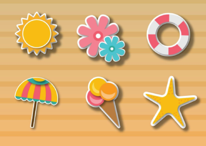 Free Fresh Colorful Summer Stickers