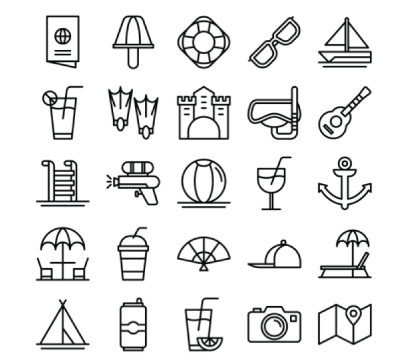 Free Outline Summer Icons