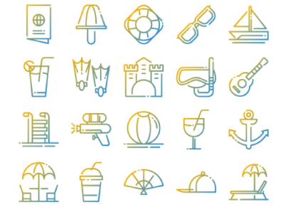 Free Summer Pack Outline Icons