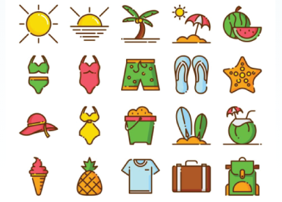 Free Colorful Summer Icons