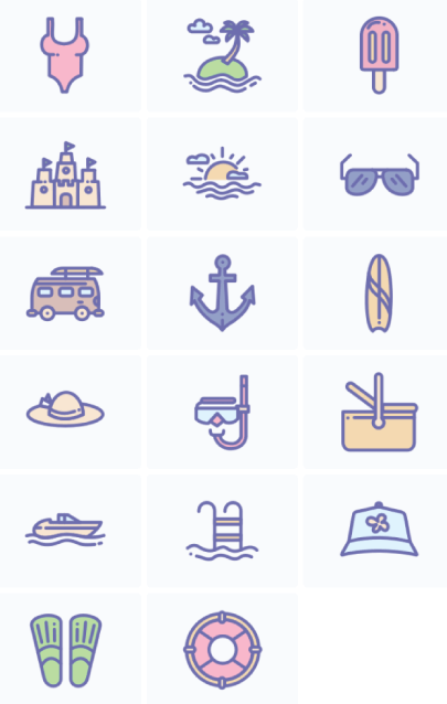 Free Pastel Summer Icons