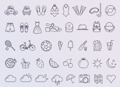 Free Summer Icons Lineart Style