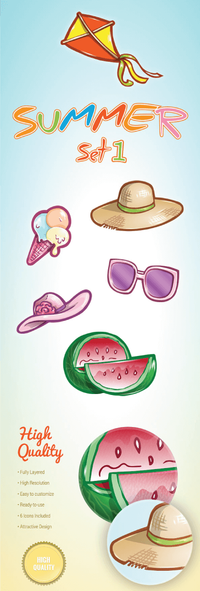 Free Cartoon Summer Icons Set 1