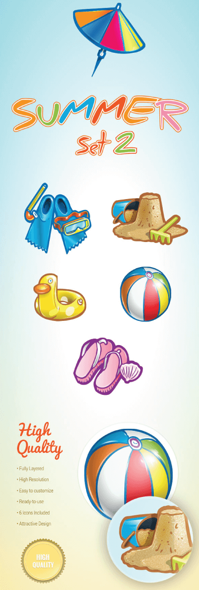 Free Cartoon Summer Icons Set 2