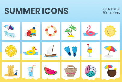 Cartoon Summer Icons by GraphicMama