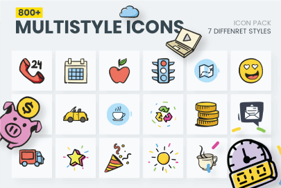 800+ Multi Style Icons by GraphicMama