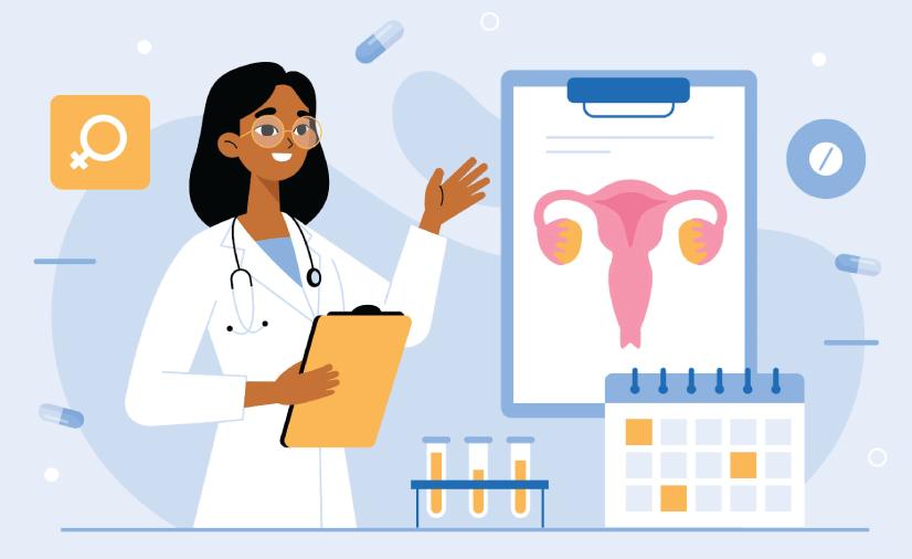 Free Gynecology Check-Up Cartoon Illustration
