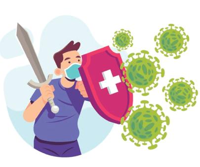 Free Fighting the Virus Cartoon Illustration