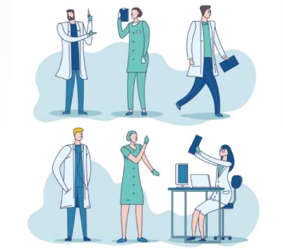 Free Cartoon Medic Clinic People Illustrations