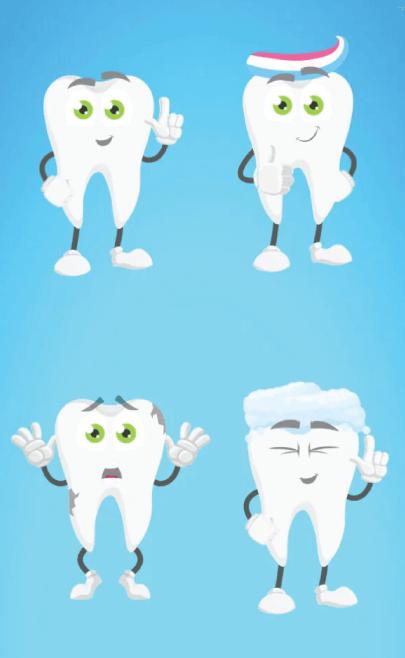 4 Free Cartoon Teeth Illustrations Set - Vector Characters
