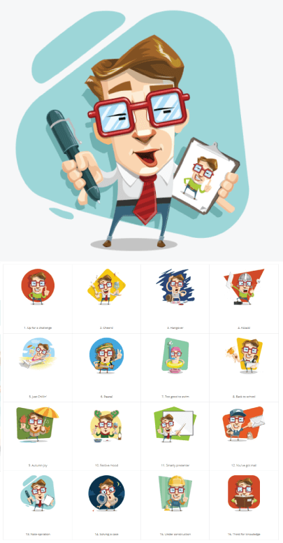 Office Smart Guy Free Vector Illustrations by GraphicMama