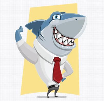 Free Business Shark Cartoon Illustration