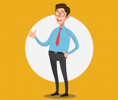 Free Happy Salesman Cartoon Illustration