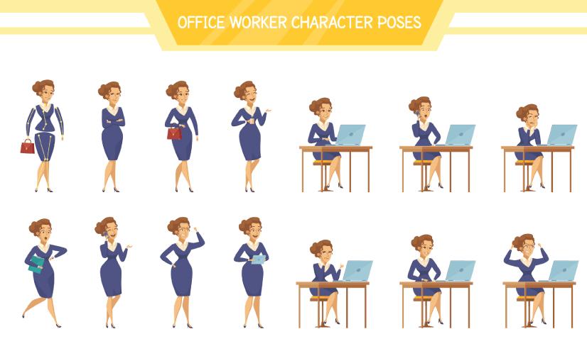 Free Office Worker Cartoon Set