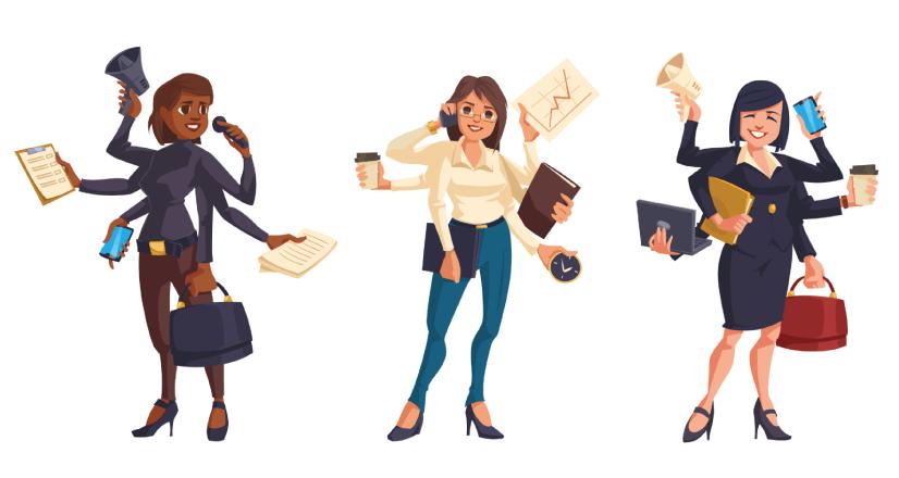 Free Businesswomen Illustration with Busy Schedule