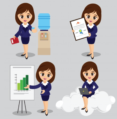 Free Young Businesswoman Cartoon Illustrations