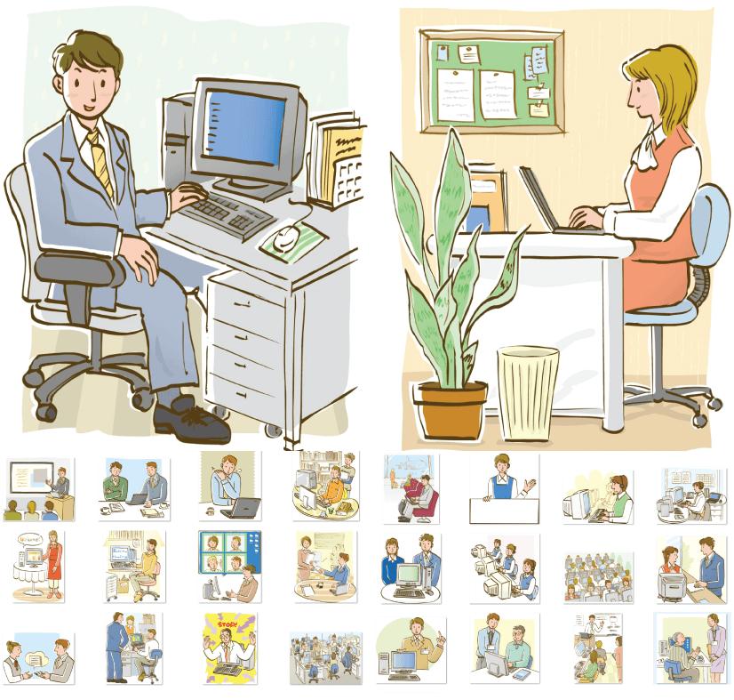 Free 99 Japanese Style Business Illustrations