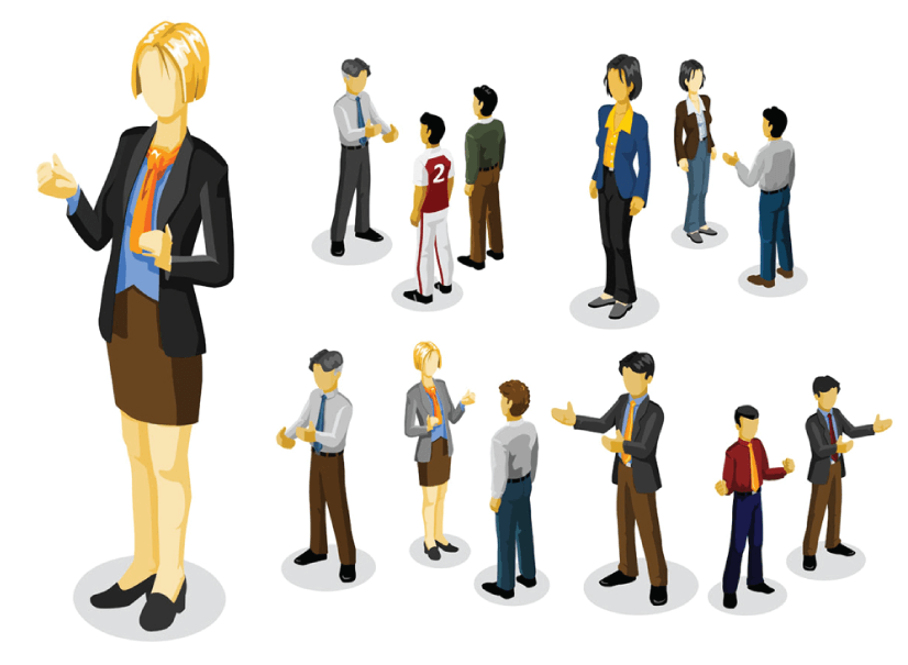 Free Isometric Cartoon Business Characters Collection