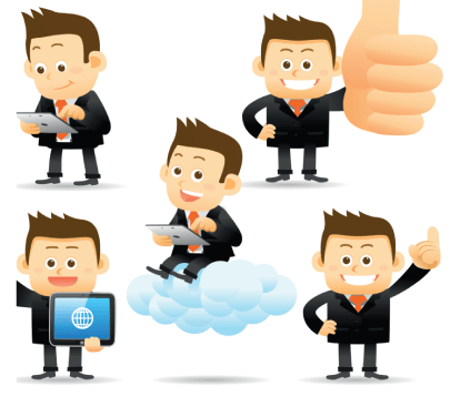Free Cute Cartoon Businessman Graphic Set