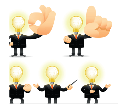 Free Entrepreneur with a Great Idea Illustrations