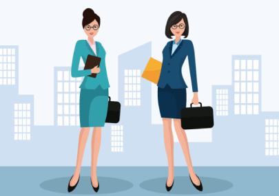 Free Businesswomen at Work Cartoon Illustration