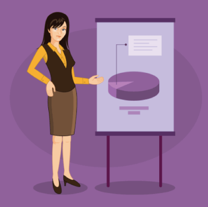 Free Business Woman Presenting An Infographic Graphic