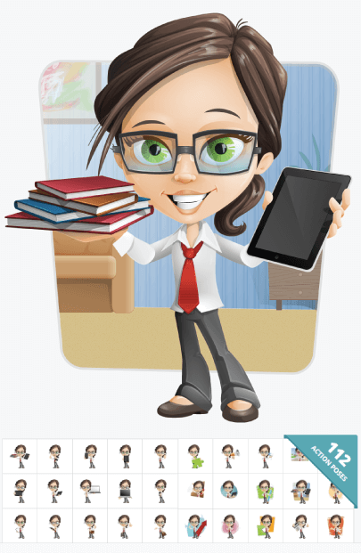 112 Little Business Girl Cartoon Vector Graphic Images