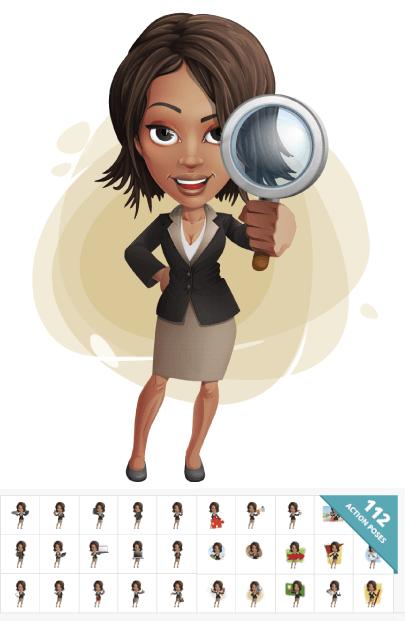 112 Vector Graphics of Cartoon African-American Businesswoman