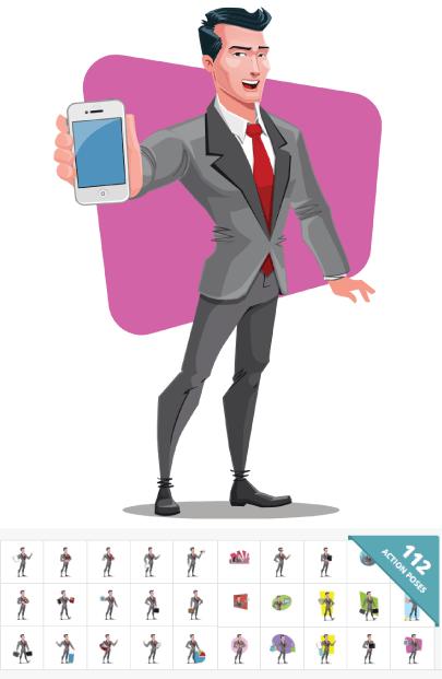 112 Modern Businessman Cartoon Vector Graphic Images