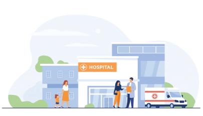 free city hospital illustration vector background