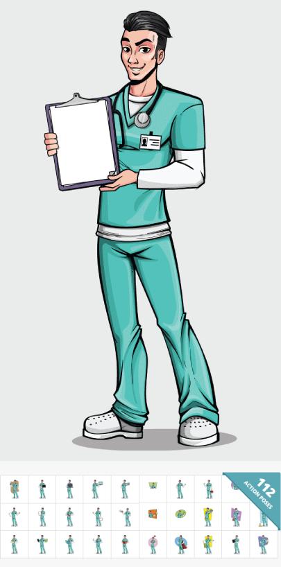 Pop Art Style Male Nurse Character