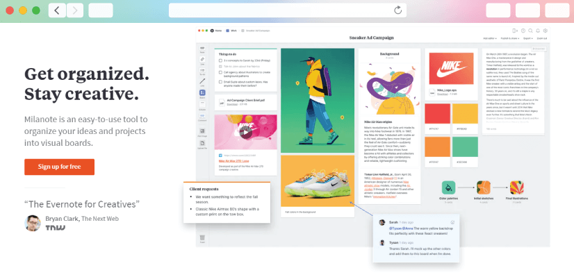 graphic design tools: Milanote