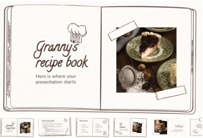 Free Food PowerPoint Templates: Granny's Recipe Book