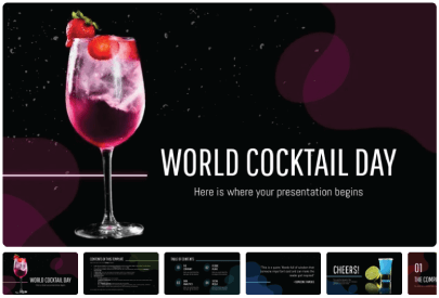 Free Food PowerPoint Templates: World Cocktail Day