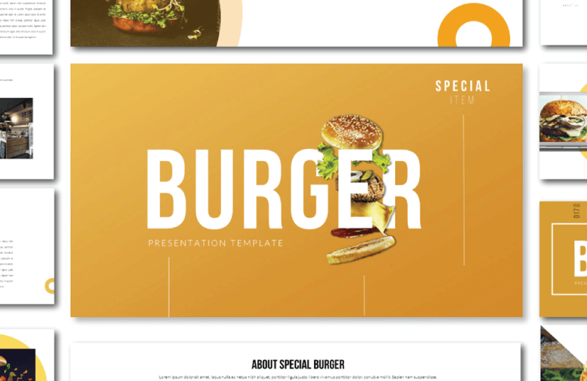 Free Food PowerPoint Templates: Special Burger