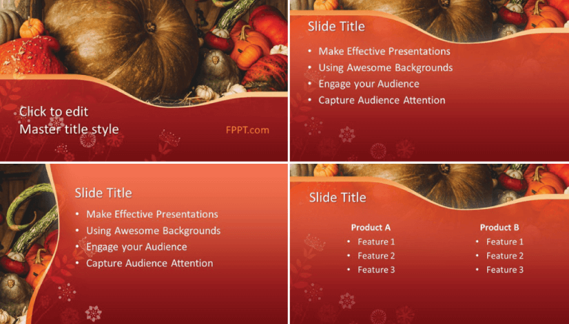 Free Food PowerPoint Templates: Pumpkin Design