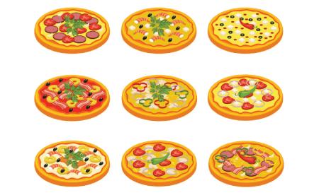 Free pizza illustration: delicious pizzas set