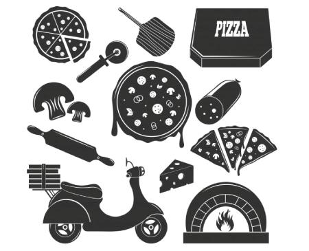 Free pizza illustration: pizza silhouettes