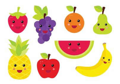 Free fruit illustration: Cute fruit magnets