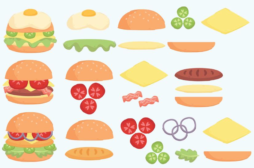 Free burger illustration: Burger ingredients