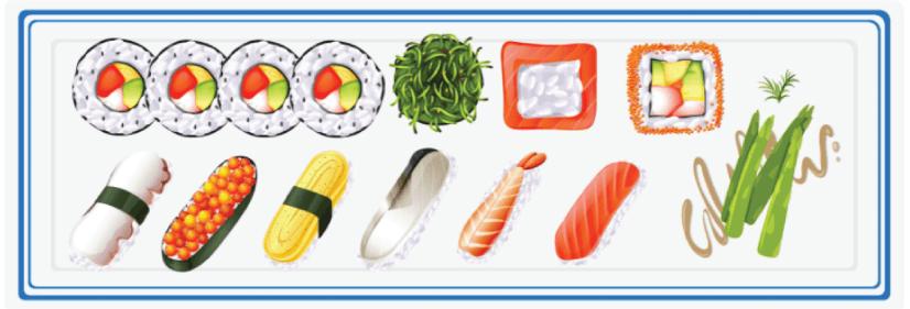 Free sushi illustration: japanese sushi set