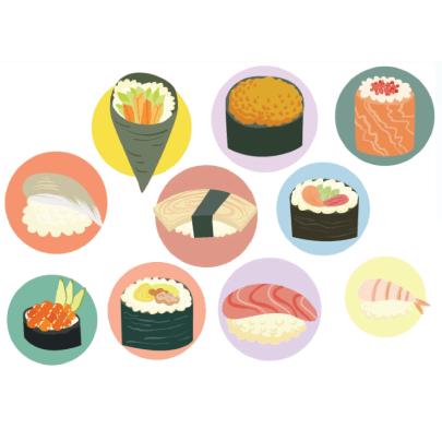 Free sushi illustration: Set of Sushi Illustrations