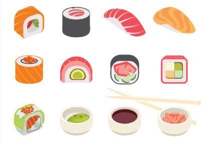 Free sushi illustration: Colorful Sushi Set