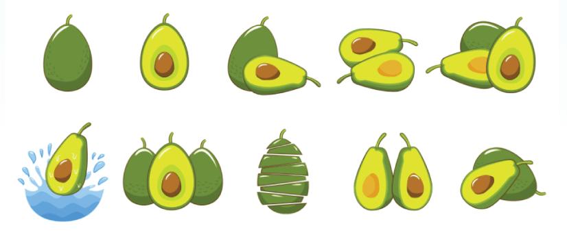 Free svocado illustration: fresh avocado elements