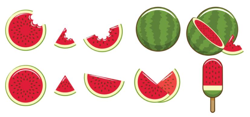 Free watermelon illustration: Cartoon Watermelon Set