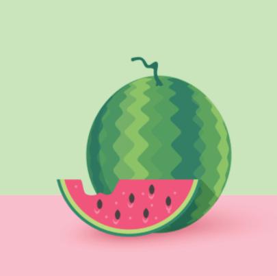 Free watermelon illustration: Flat Vector Watermelon