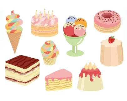 Free dessert illustration: Sweet Cakes and Desserts